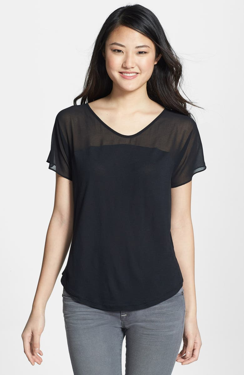 NYDJ Sheer Yoke Short Sleeve Top, Main, color, 001
