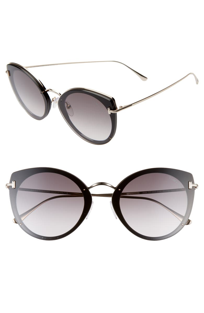 TOM FORD 63mm Cateye Sunglasses, Main, color, BLACK/ GOLD/ GRADIENT SMOKE