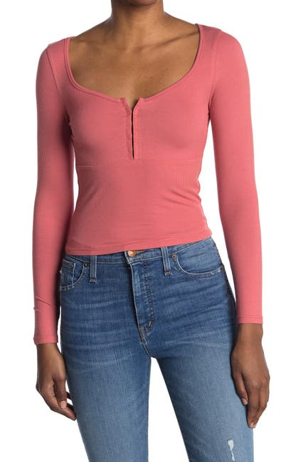 Image of Elodie Rib Knit Long Sleeve Top