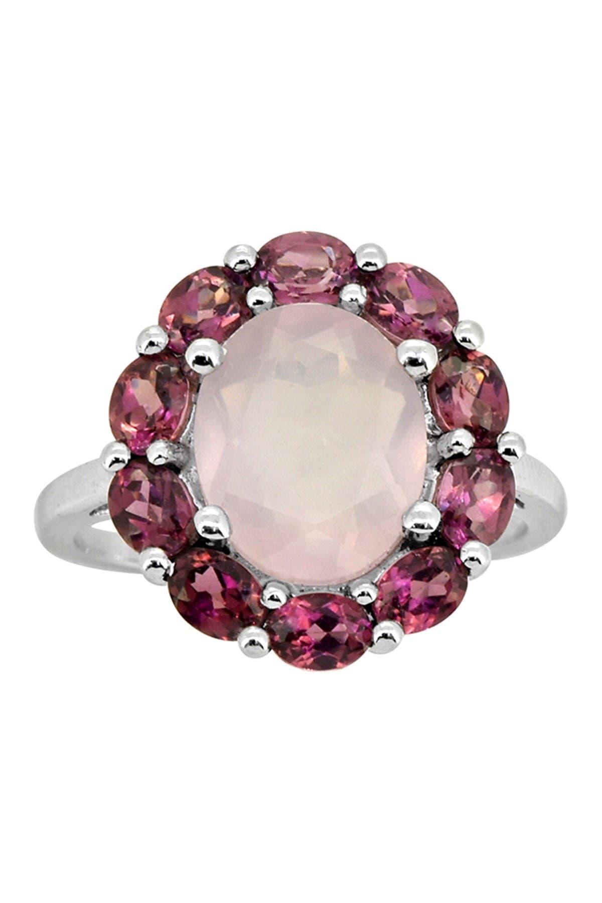 35x35mm New Arrival Pink Raspberry Rhodolite Garnet Woman/'s Silver Ring Us 8.0#