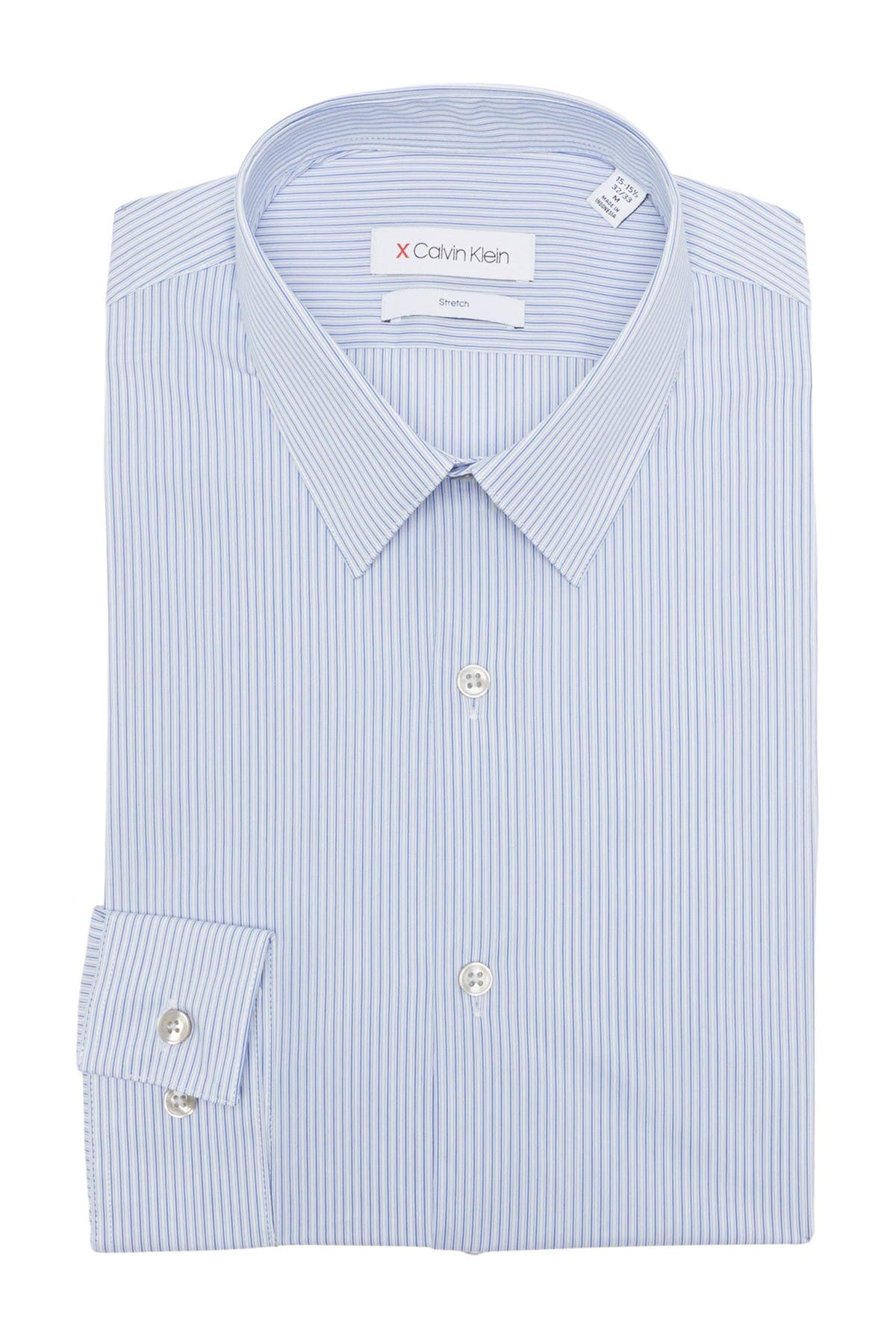 Image of Calvin Klein Striped Extreme Slim Fit Stretch Dress Shirt