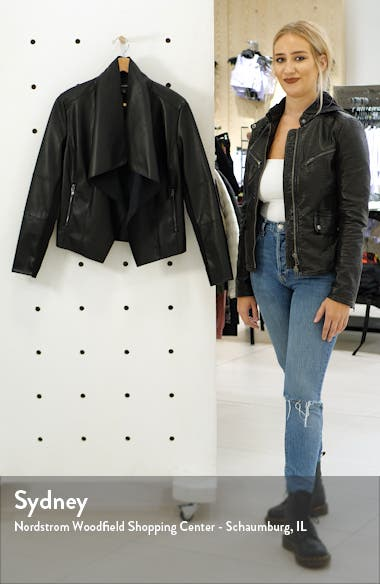 Faux Leather Drape Front Jacket, sales video thumbnail