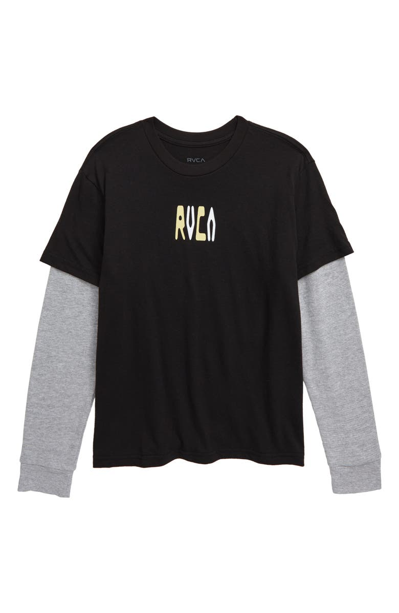 RVCA Thermal Layered Long Sleeve Shirt, Main, color, RVCA BLACK