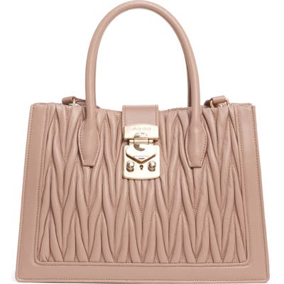 Miu Miu Confidential Matelasse Quilted Lambskin Leather Satchel - Beige