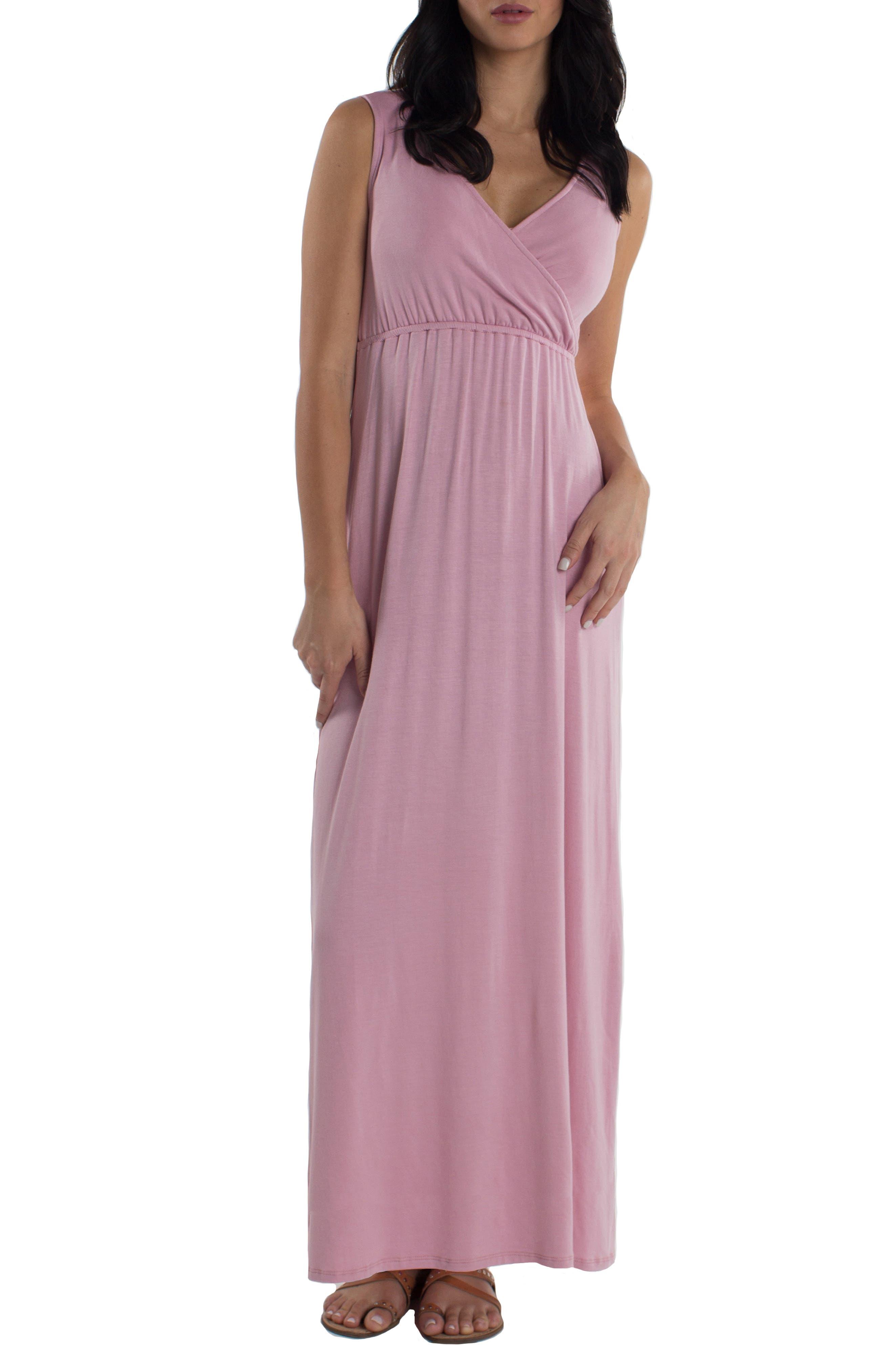 Udderly Hot Mama Maddie Maternity/nursing Maxi Dress, Pink