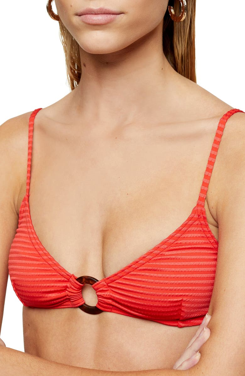 TOPSHOP Seersucker Triangle Bikini Top, Main, color, RED
