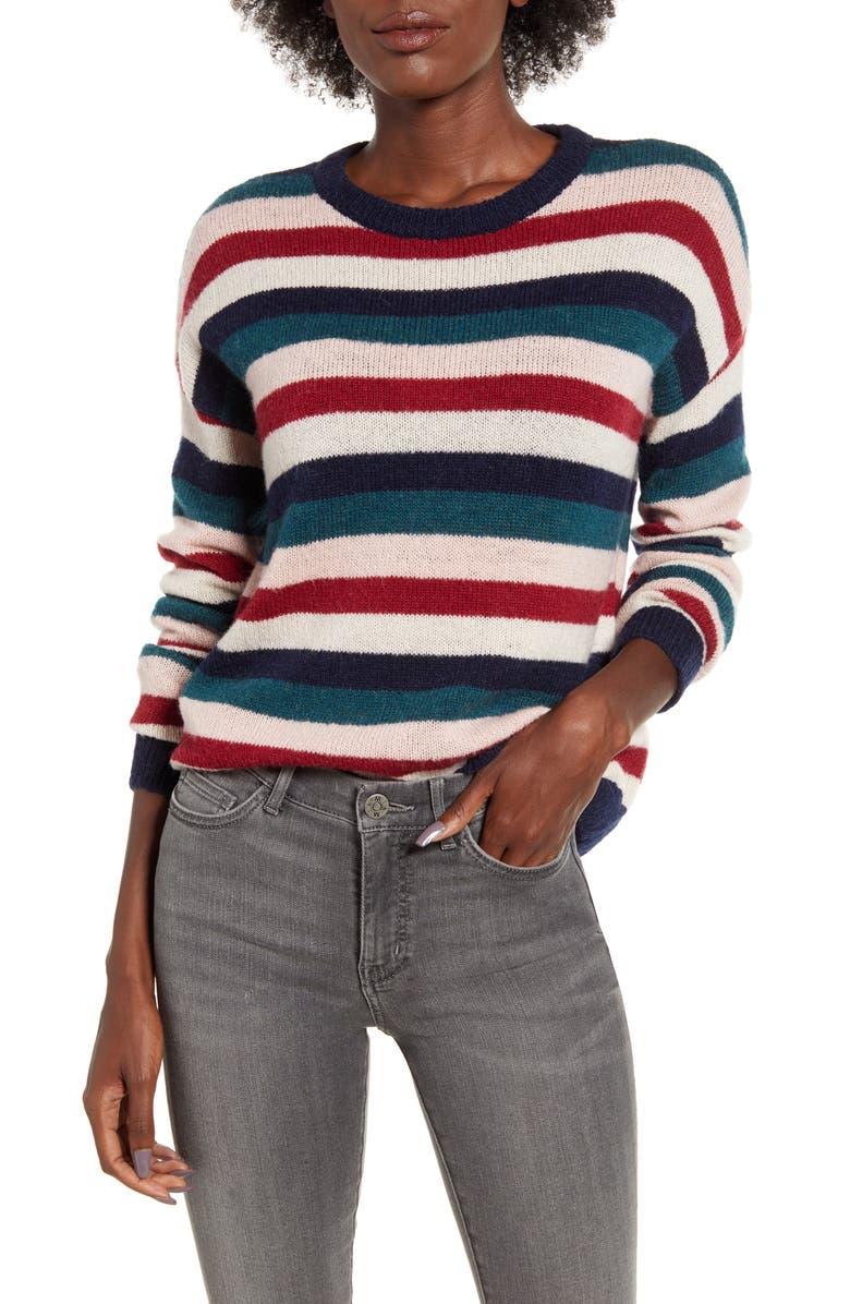 RAILS Adela Striped Sweater, Main, color, NAVY RAINBOW MULTI