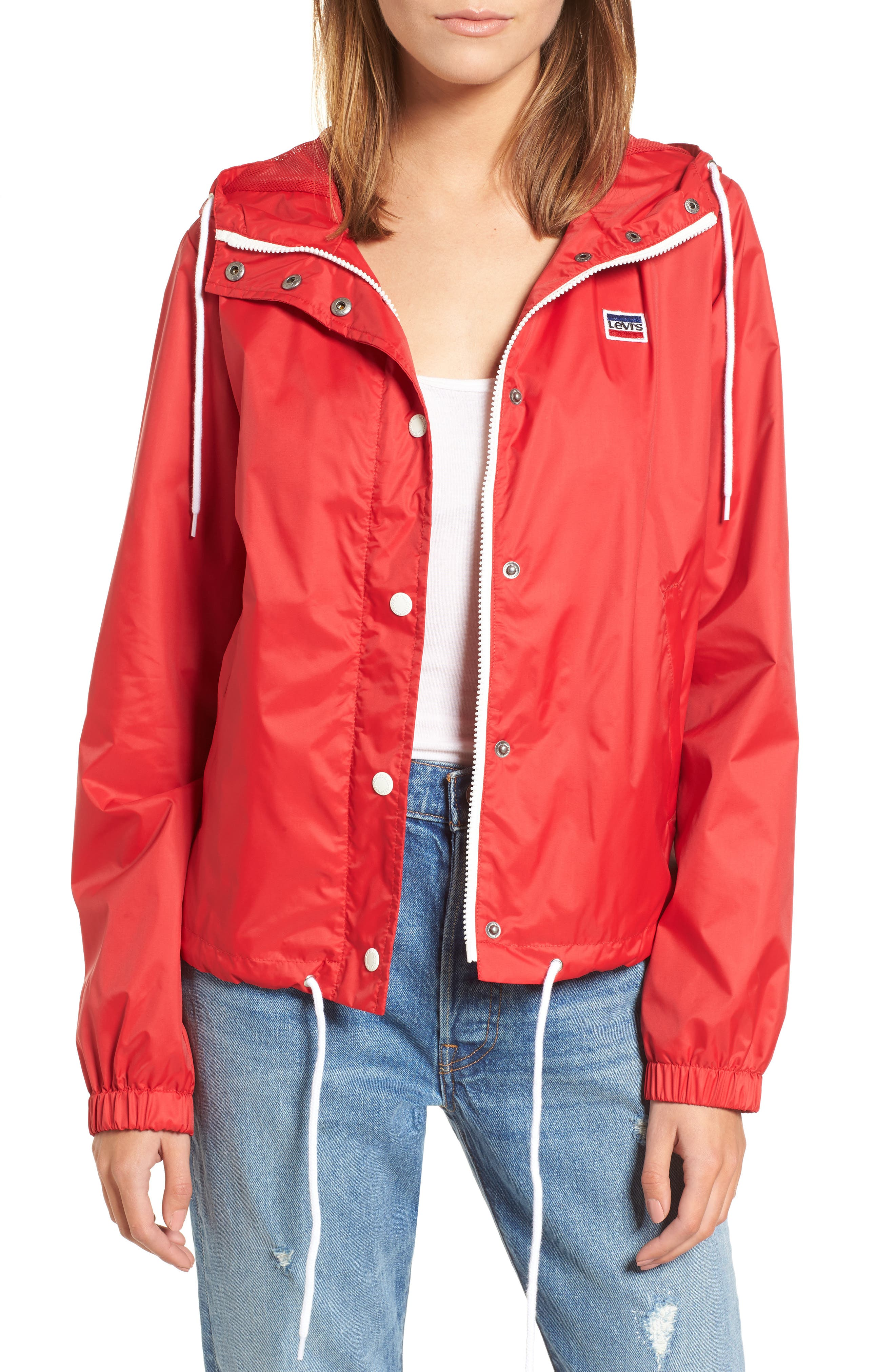 Vintage Coats & Jackets | Retro Coats and Jackets Levis Nylon Zip Front Jacket Size 2XL - Red at Nordstrom Rack $59.97 AT vintagedancer.com