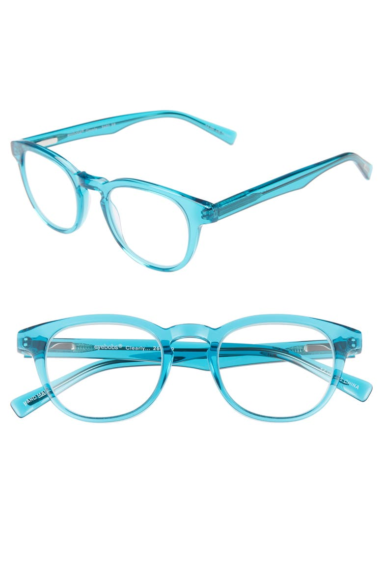 EYEBOBS Clearly 47mm Round Reading Glasses, Main, color, TURQUOISE CRYSTAL