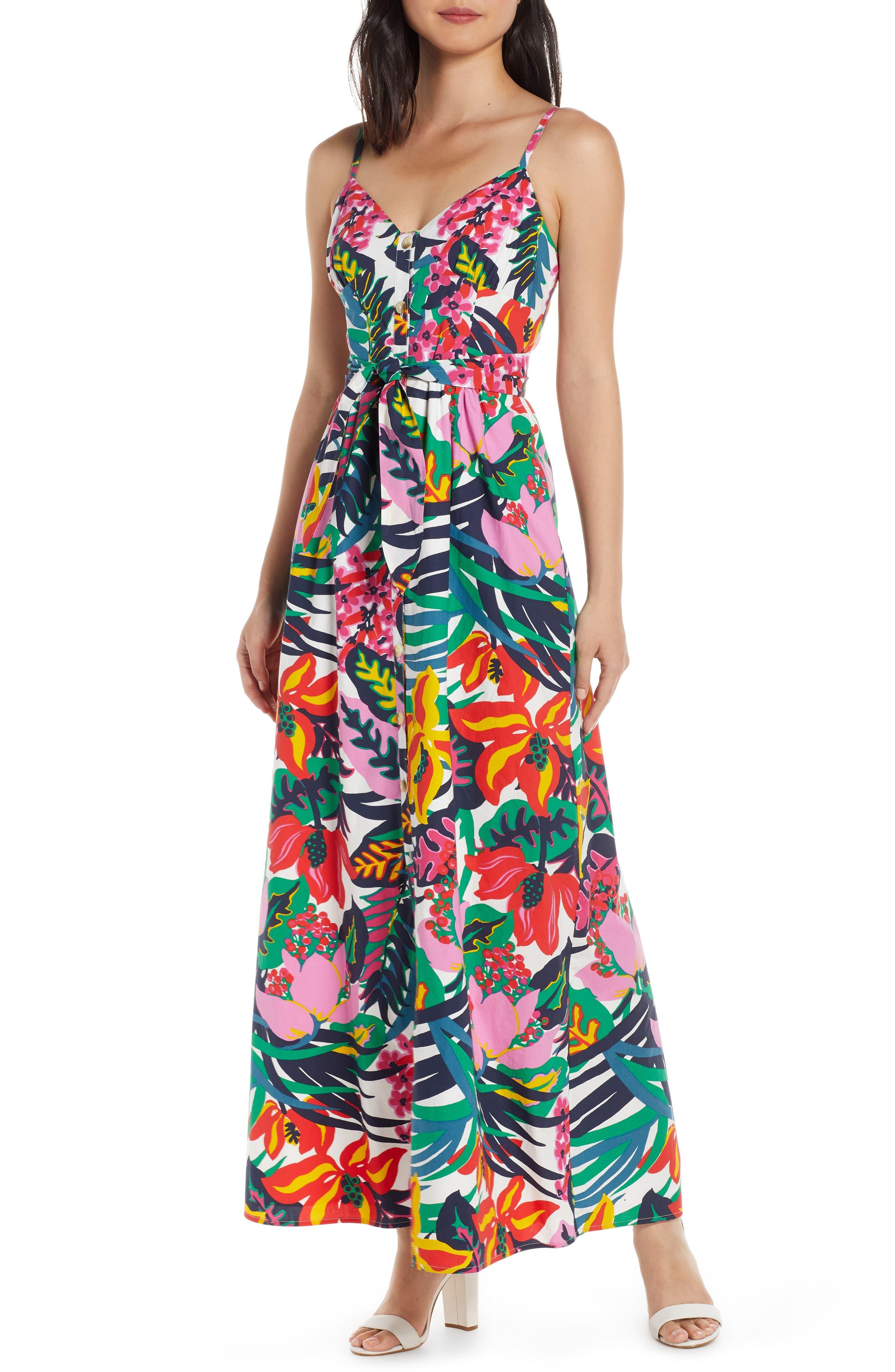 J.crew Floral Spaghetti Strap Maxi Dress, Ivory