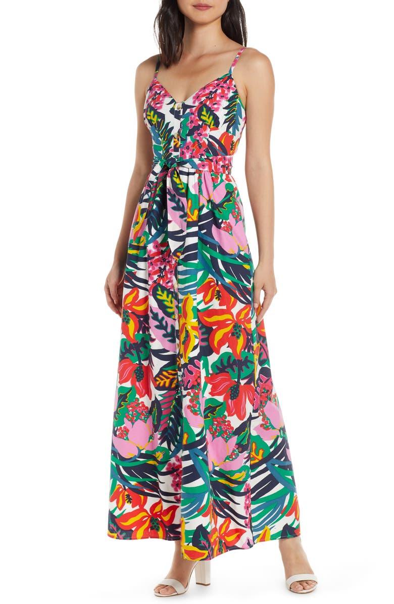 J.CREW Floral Spaghetti Strap Maxi Dress, Main, color, ROUSSEAU FLORAL MULTI