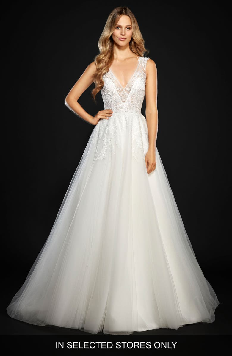 HAYLEY PAIGE Winnie Lace & Tulle Ballgown, Main, color, IVORY