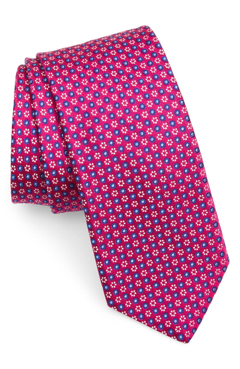 TED BAKER LONDON Micro Floral Silk Tie, Main, color, FUCHSIA
