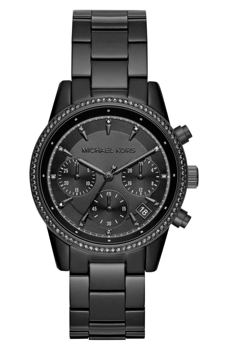 MICHAEL KORS Ritz Chronograph Bracelet Watch, 37mm, Main, color, 001