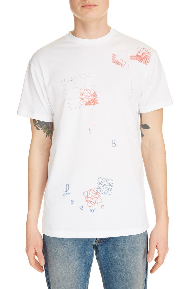 LOEWE Letters Patterned T-Shirt, Main, color, WHITE