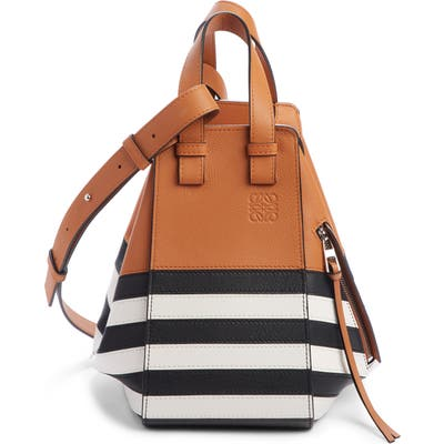 Loewe Small Hammock Marine Stripe Leather Hobo - Brown