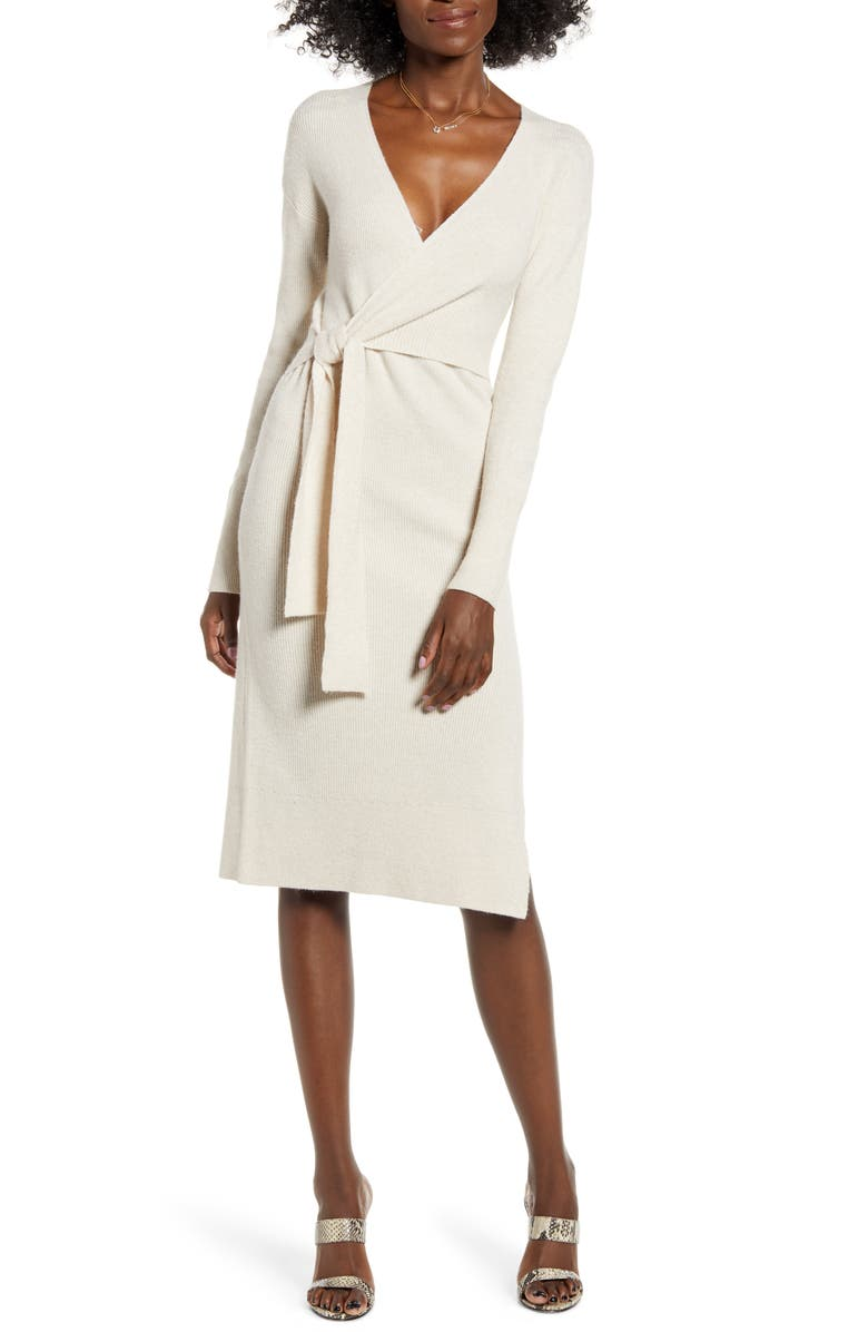 LEITH Wrap Sweater Dress, Main, color, BEIGE OATMEAL LIGHT HEATHER