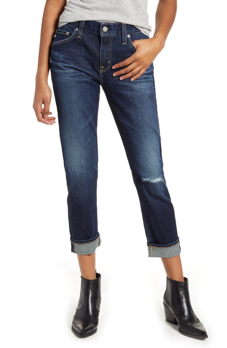 AG Ex-Boyfriend Relaxed Slim Jeans, Main, color, 7 YEARS EARNEST DESTRUCTED