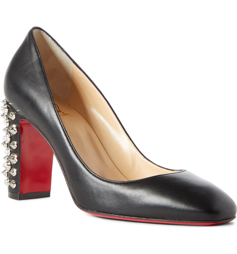 CHRISTIAN LOUBOUTIN Donna Spike Square Toe Pump, Main, color, BLACK