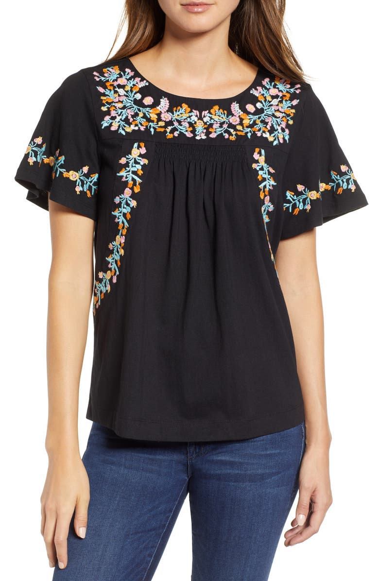 CASLON<SUP>®</SUP> Embroidered Tee, Main, color, 001