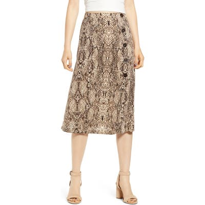 All In Favor Animal Print Button Midi Skirt, Beige