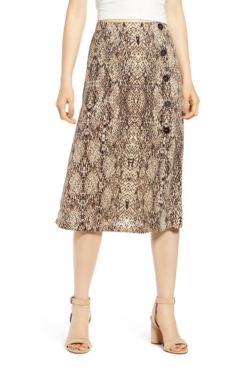 ALL IN FAVOR Animal Print Button Midi Skirt, Main, color, NEUTRAL SNAKE