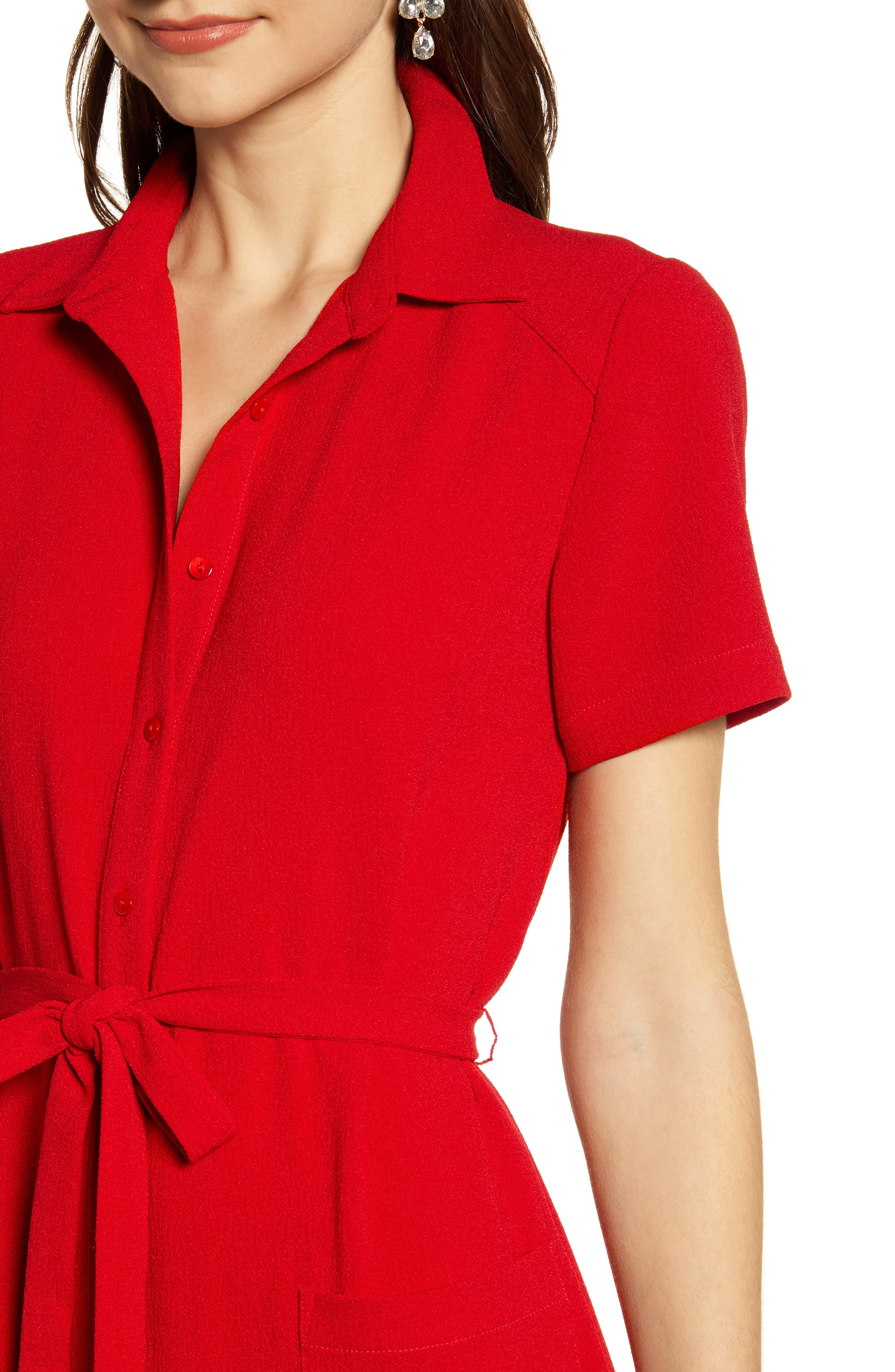 ,                             Everyday High/Low Shirt Dress,                             Alternate thumbnail 5, color,                             RED BARBADOS