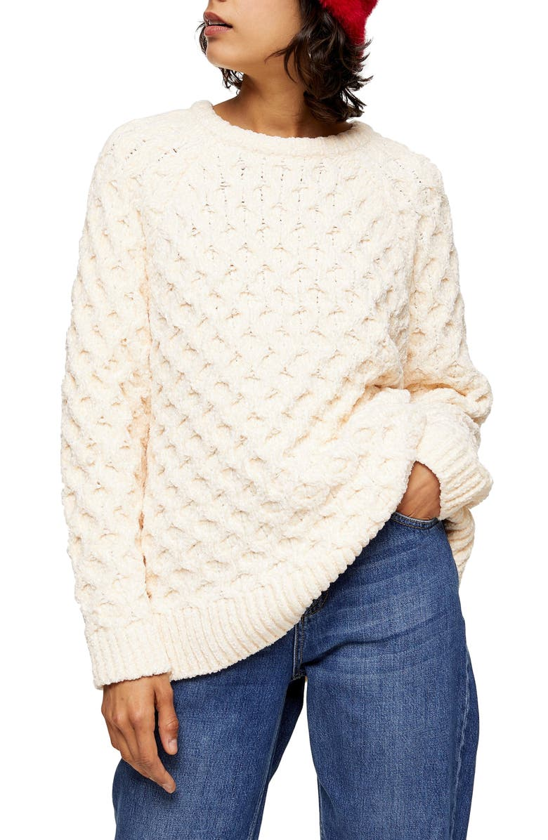 TOPSHOP Honeycomb Chenille Sweater, Main, color, 900