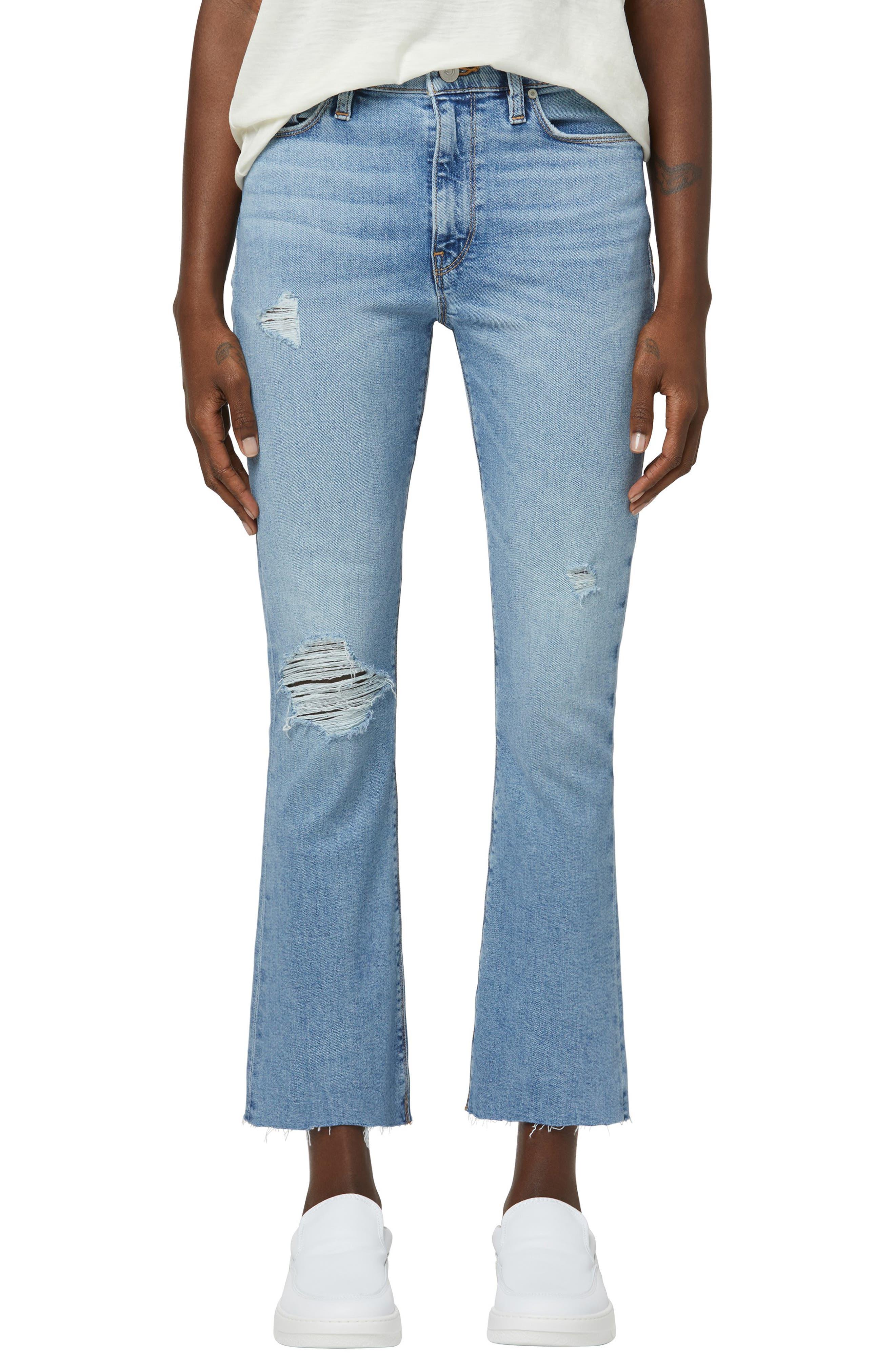 Barbara High Waist Ripped Crop Bootcut Jeans
