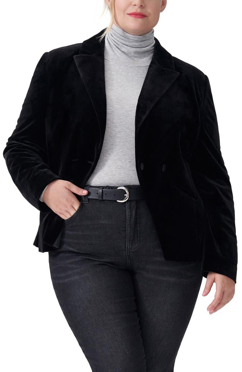 UNIVERSAL STANDARD Bianca Velvet Blazer, Main, color, BLACK