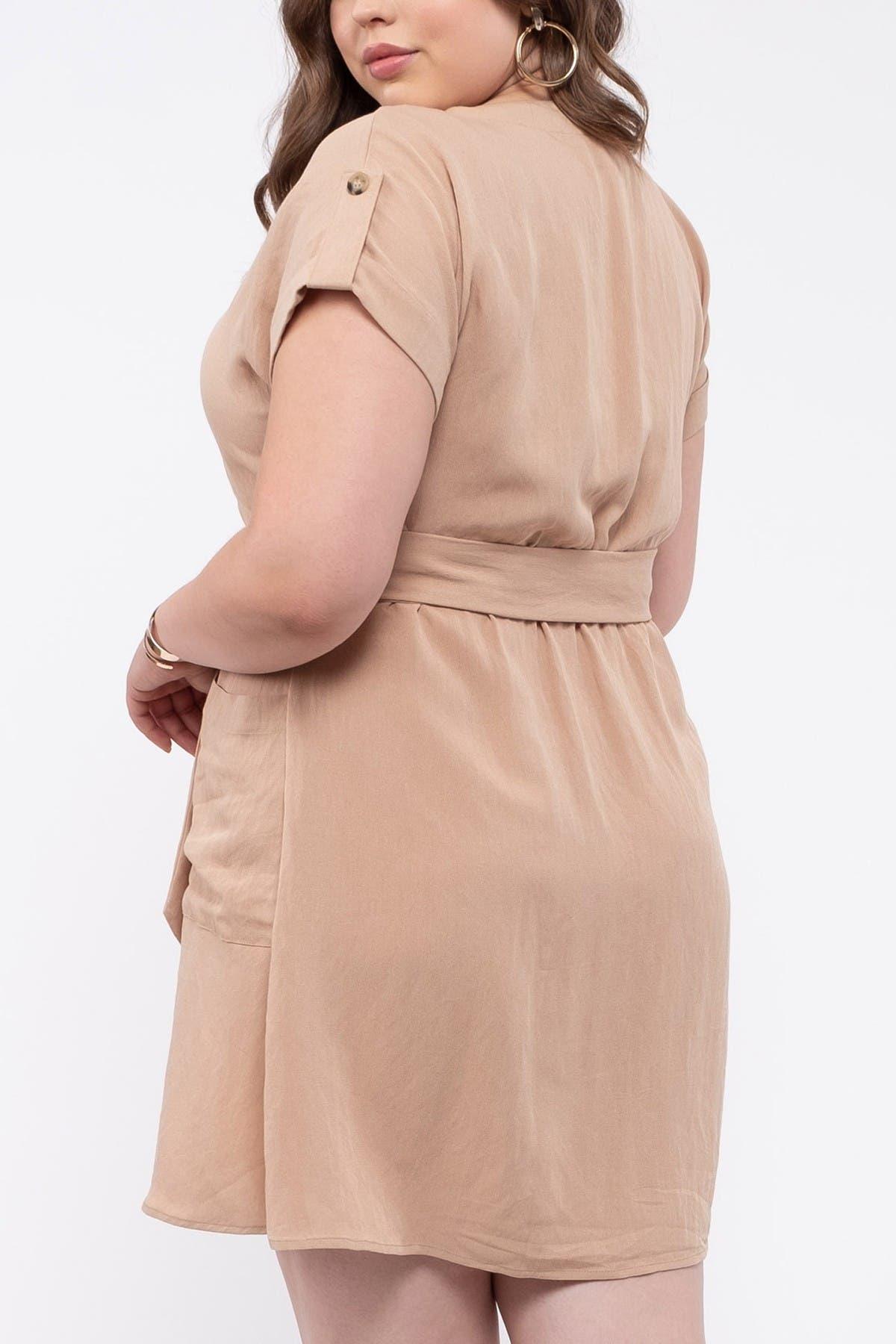 Image of Blu Pepper Button Down Waist Belt Dress