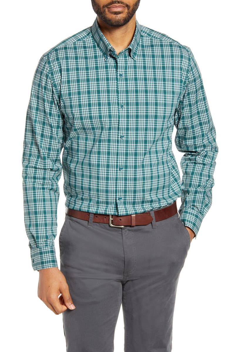 CUTTER & BUCK Soar Classic Fit Plaid Performance Button-Down Shirt, Main, color, SEAWEED