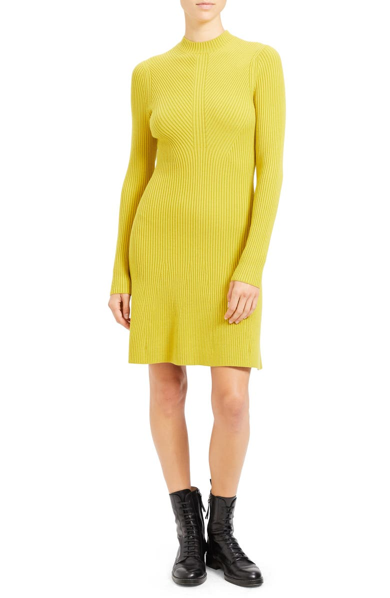 THEORY Regal Moving Ribbed Long Sleeve Merino Wool Blend Sweater Dress, Main, color, CITRON