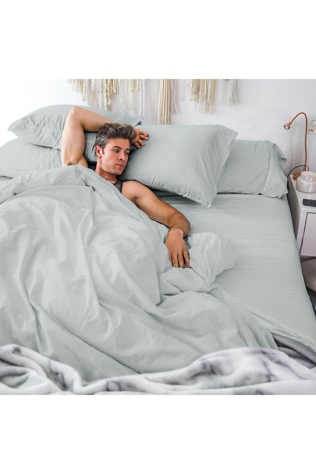 Image of Pillow Guy Classic Cool & Crisp Cotton Percale 4-Piece Sheet Set - Light Grey - Queen Size