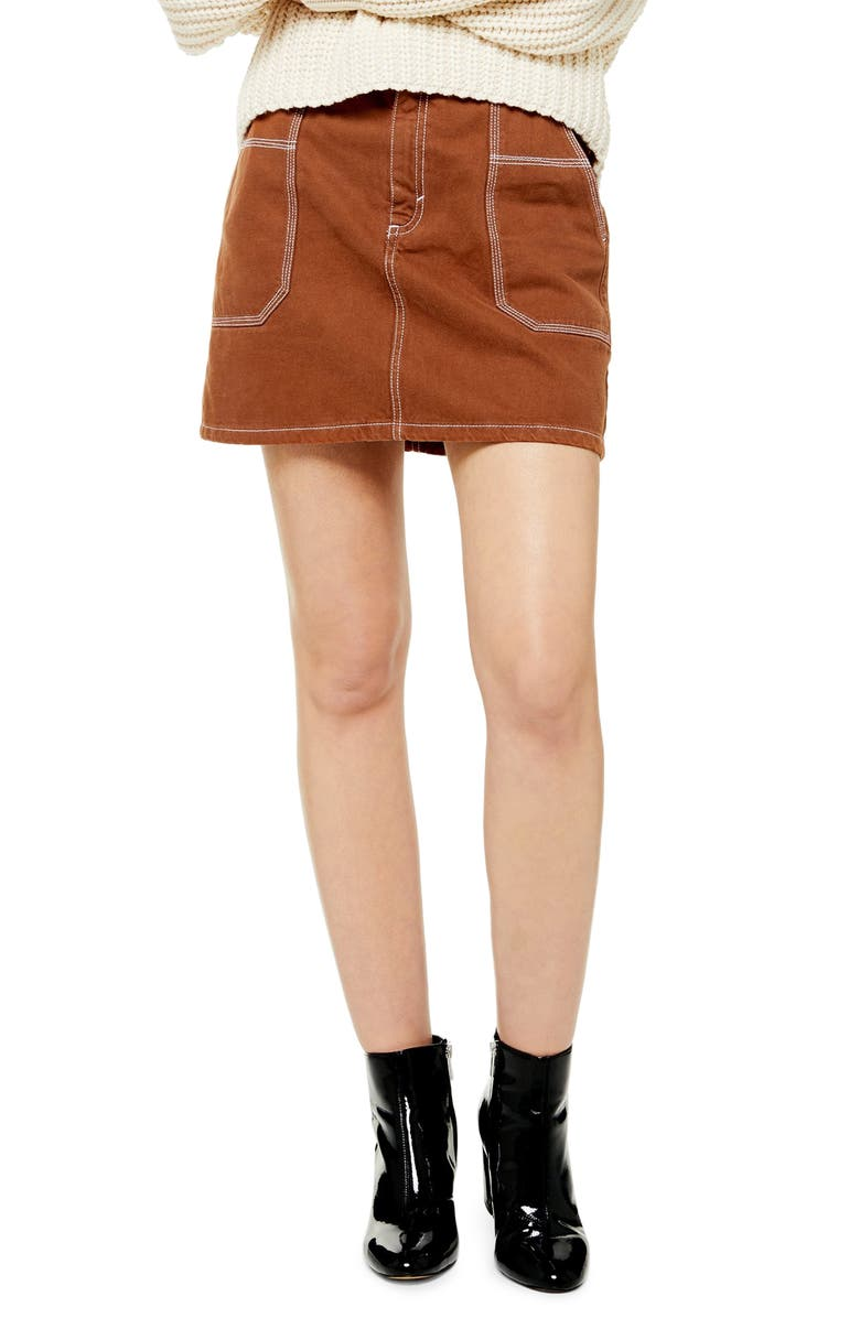 TOPSHOP Topstitch Twill Miniskirt, Main, color, BROWN
