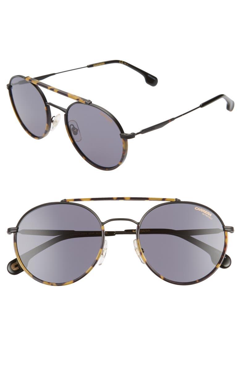 CARRERA EYEWEAR 54mm Round Sunglasses, Main, color, MATTE BLACK/ GRAY BLUE