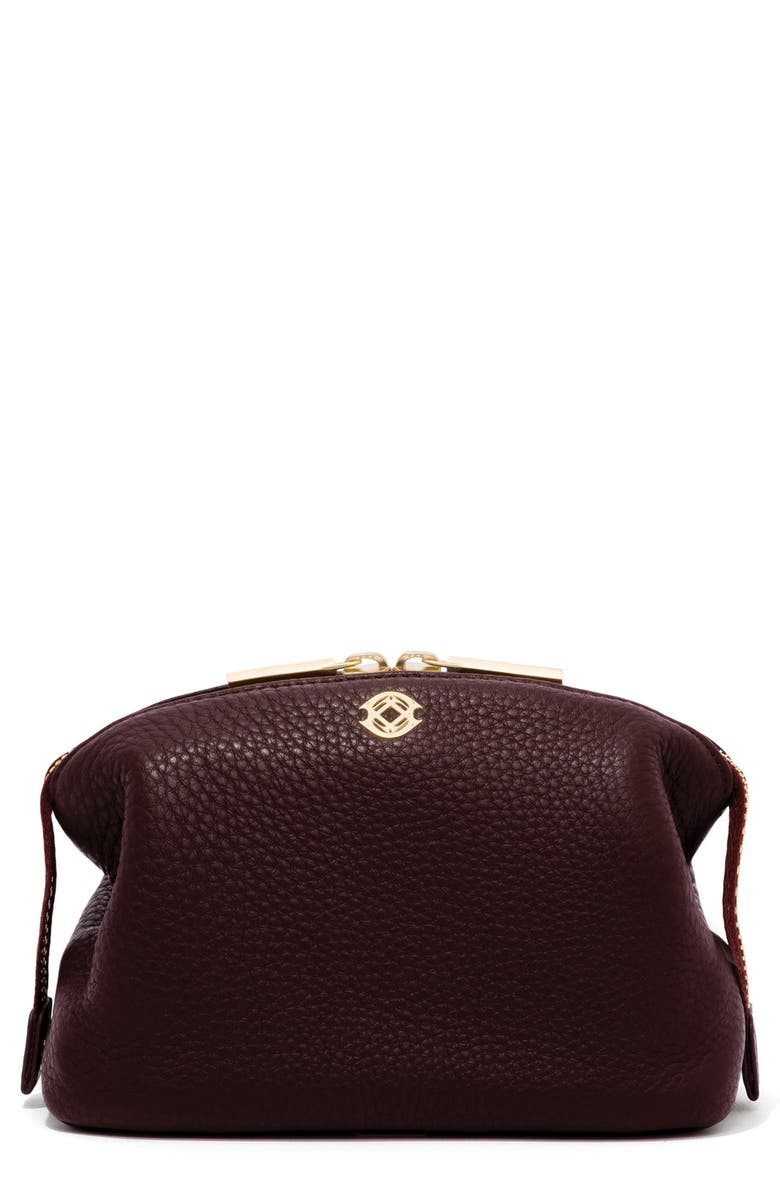DAGNE DOVER Small Lola Leather Cosmetics Pouch, Main, color, OXBLOOD