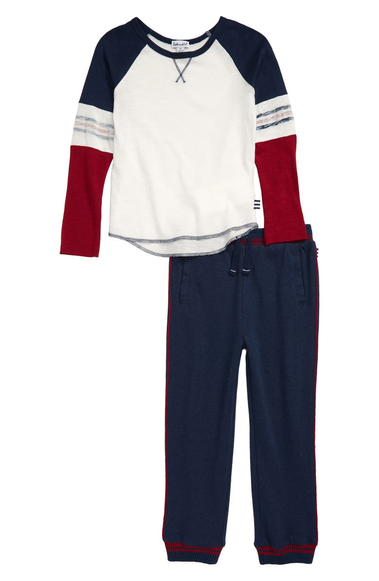 SPLENDID Piped Raglan Shirt & Jogger Pants Set, Main, color, PHANTOM INK