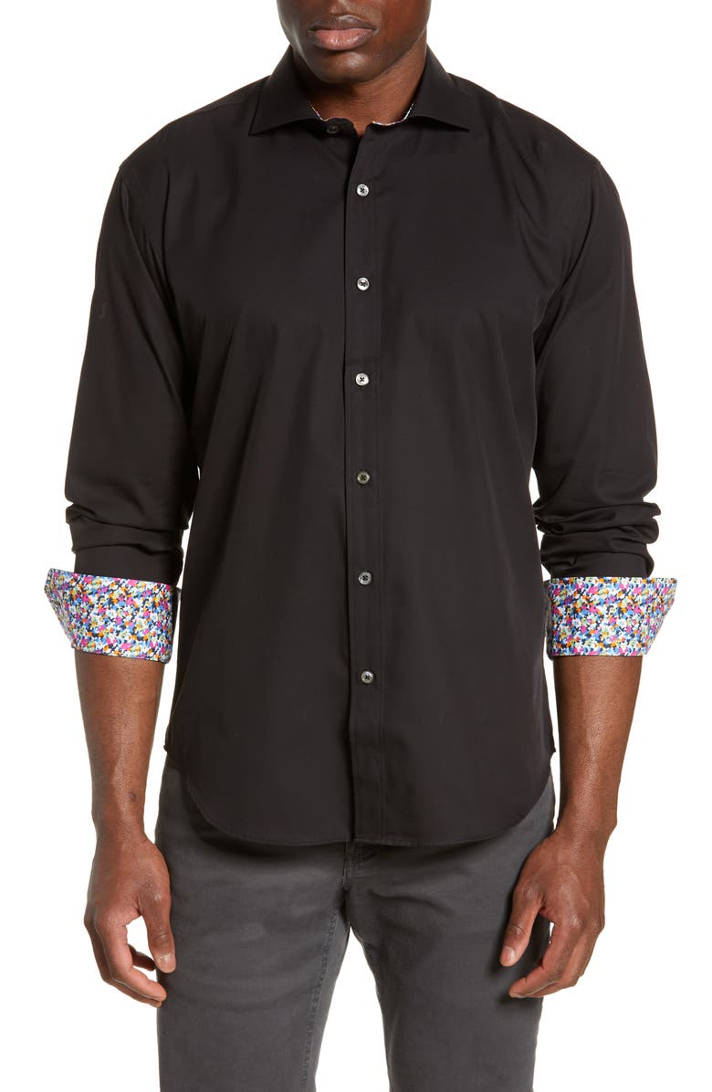 BUGATCHI Shaped Fit Floral Cuff Cotton Shirt, Main, color, BLACK