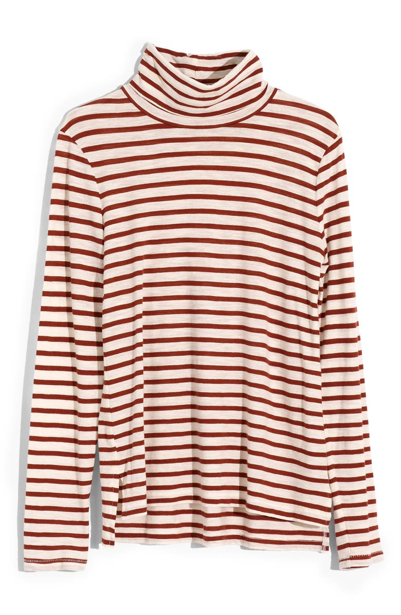 MADEWELL Whisper Cotton Turtleneck in Baker Stripe, Alternate, color, BRIGHT IVORY SOCOTRA STRIPE
