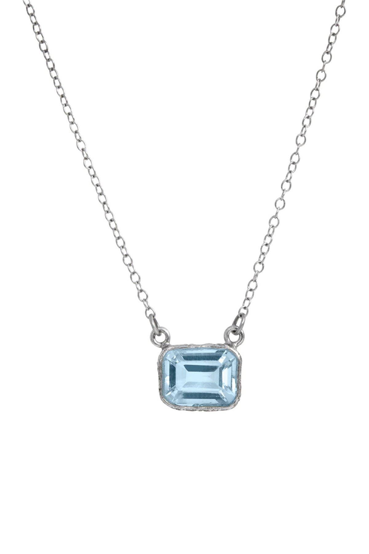 Silver blue topaz pendant Free postage