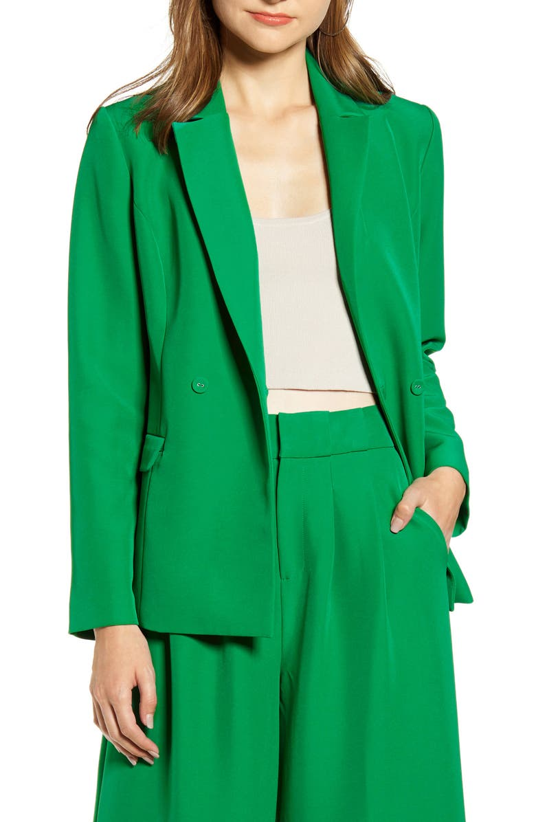 ENGLISH FACTORY Tailored Double Breasted Blazer, Main, color, GREEN