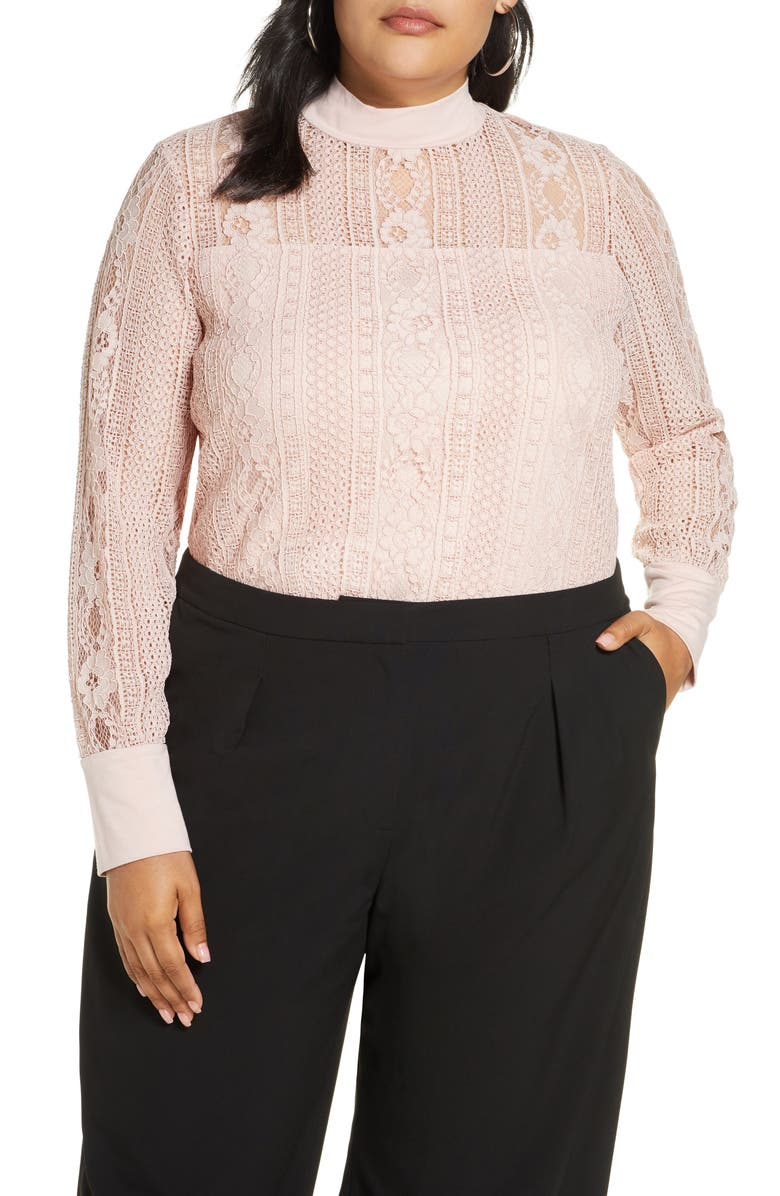 HALOGEN<SUP>®</SUP> Lace Mock Neck Long Sleeve Top, Main, color, PINK SMOKE
