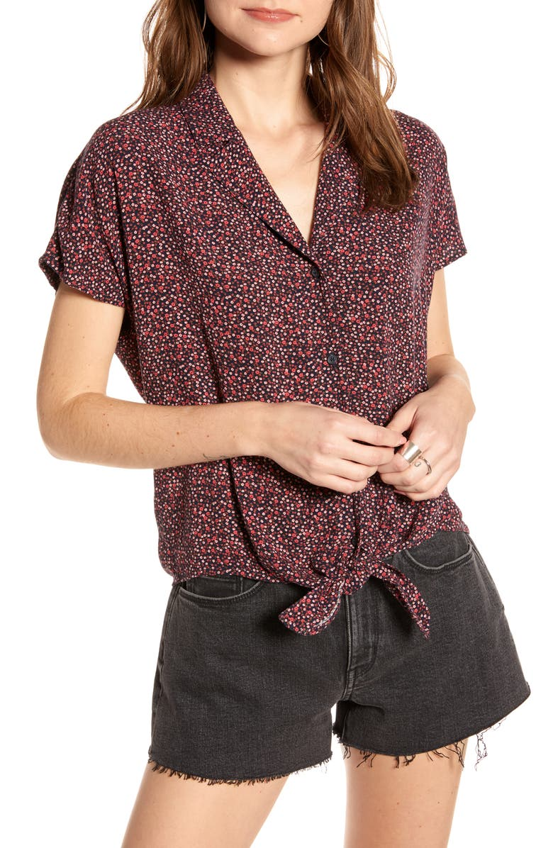 TREASURE & BOND Tie Front Shirt, Main, color, NAVY LIL DITSY