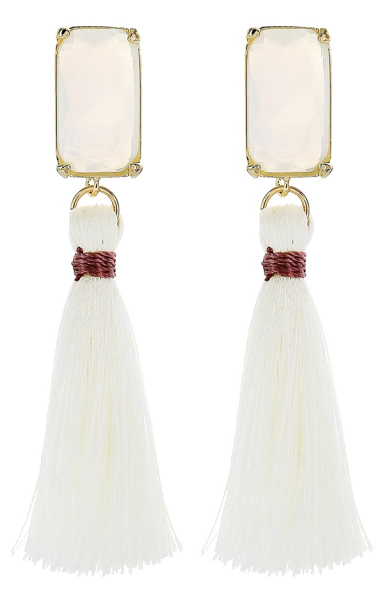 PANACEA Tassel Drop Earrings, Main, color, WHITE