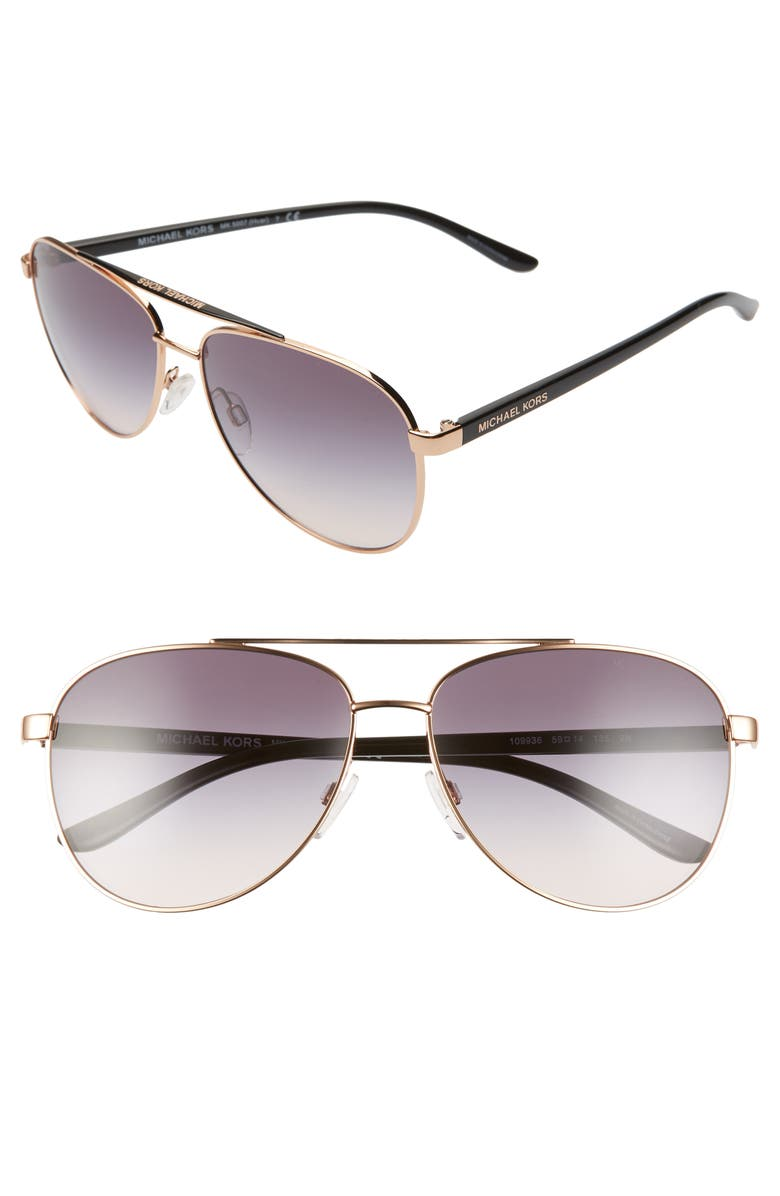 MICHAEL KORS 59mm Aviator Sunglasses, Main, color, ROSE GOLD/ VIOLET GRADIENT
