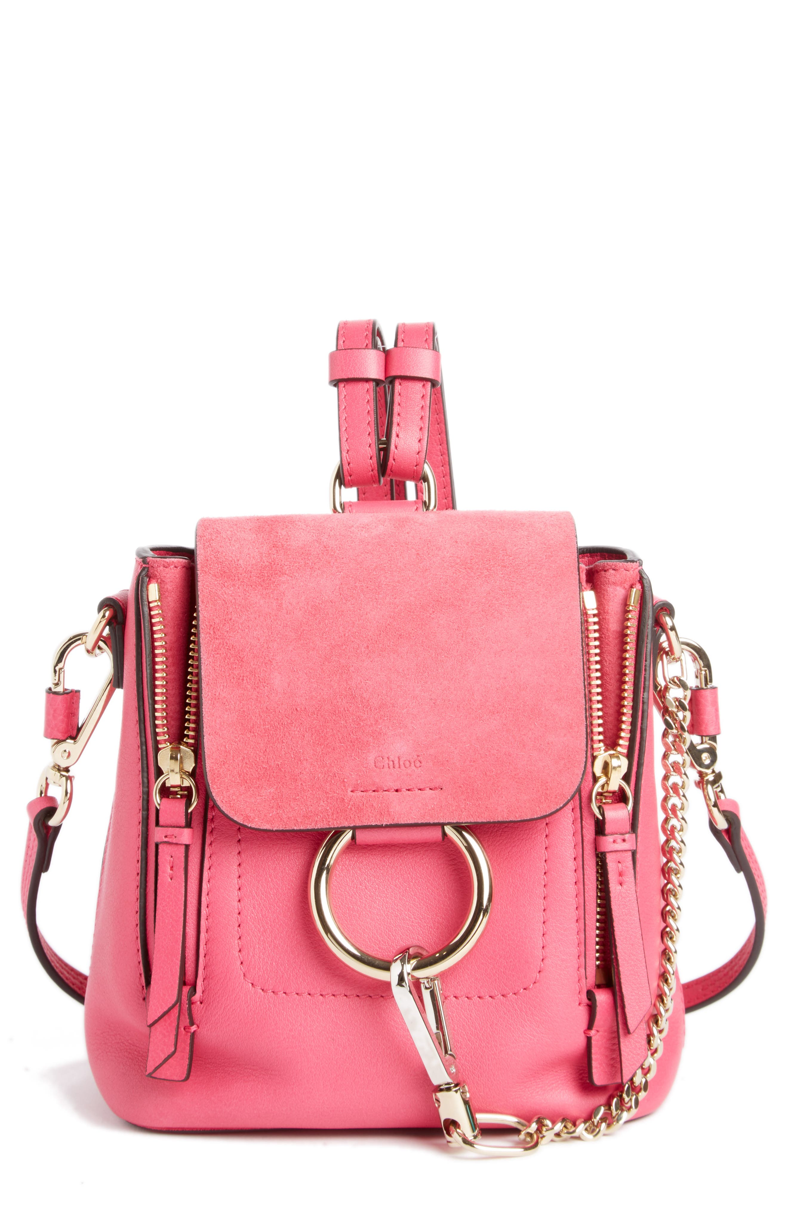 ,                             Mini Faye Leather & Suede Backpack,                             Main thumbnail 30, color,                             651
