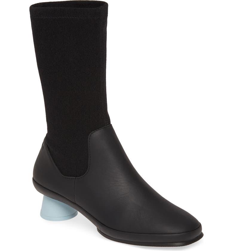 CAMPER Alright Cone Heel Boot, Main, color, BLACK FABRIC