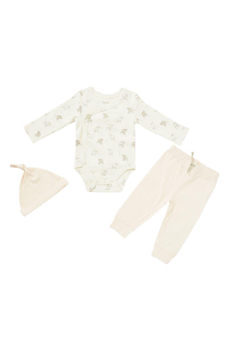 PEHR Little Lamb Organic Cotton Bodysuit, Pants & Knotted Hat Set, Main, color, MULTI