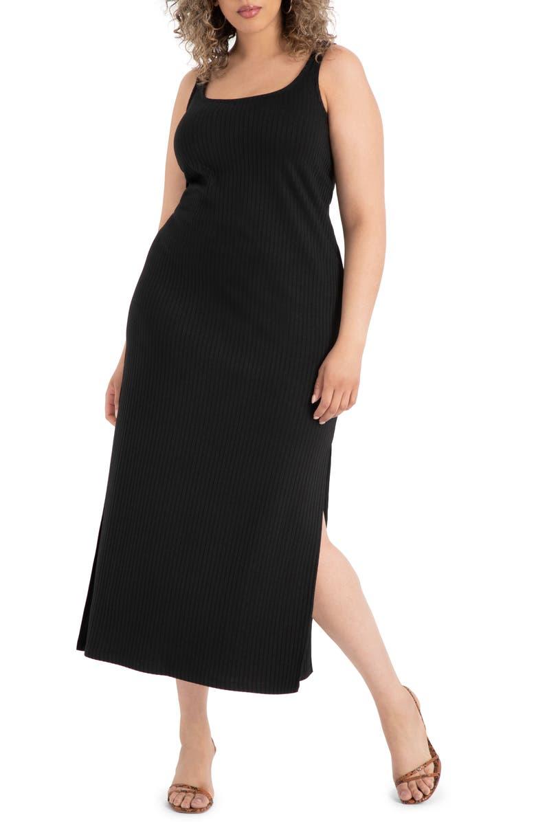 ELOQUII Ribbed Tank Maxi Dress, Main, color, 001